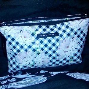 tahari gingham floral bag